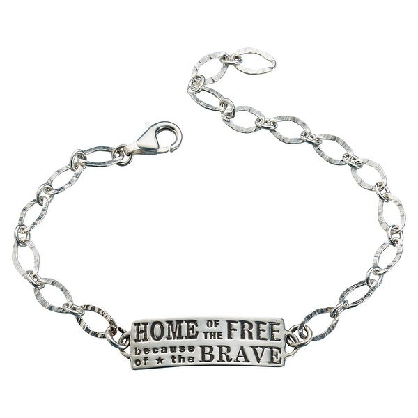 09c65533f Shop Women's Home Of The Free Because Of The Brave Bracelet - Military  Police Firefighter - Silver - Free Shipping On Orders Over $45 - Overstock  - 16006929