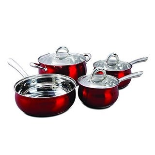 Oster 7-Piece Verdone Cookware Set Stainless Steel with Metallic Red Exterior - Metallic Red