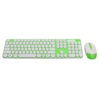 2.4G Optical Wireless Keyboard Mouse Keypad Film Kit Green for Pc Computer