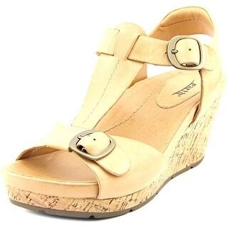 Earth Scorpio Women Open Toe Leather Tan Wedge Sandal