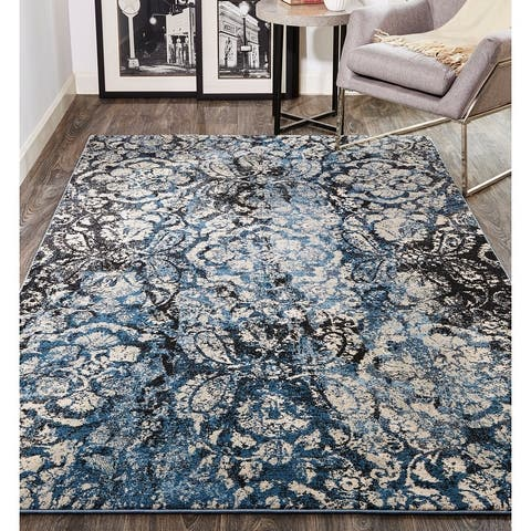 Grand Bazaar Tullamore Blue/Ivory Floral Ornamental Area Rug