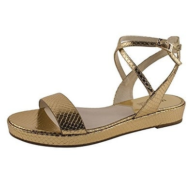 MICHAEL Michael Kors Womens KAYLEE FLAT Leather Casual Slide Sandals