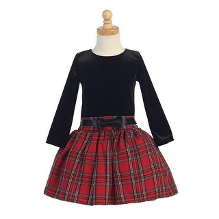 Red Velvet Bodice Plaid Skirt Girls Christmas Dress 5-10