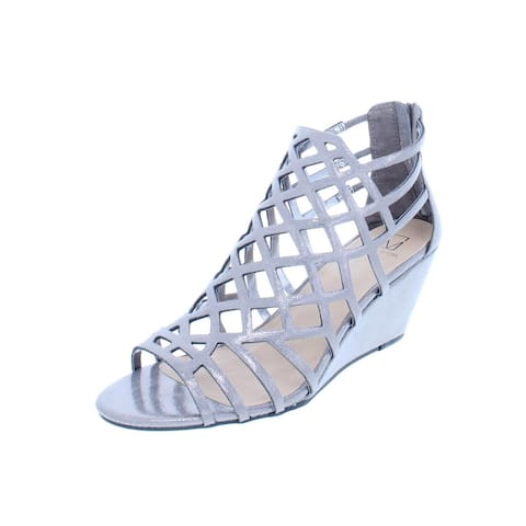 Material Girl Womens Henie Wedge Sandals Shimmer Caged