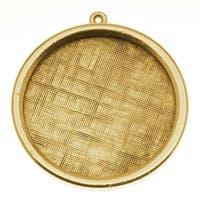 Nunn Design Antiqued Gold Plated Pewter Bezel Large Round Framed Pendant 1 1/4