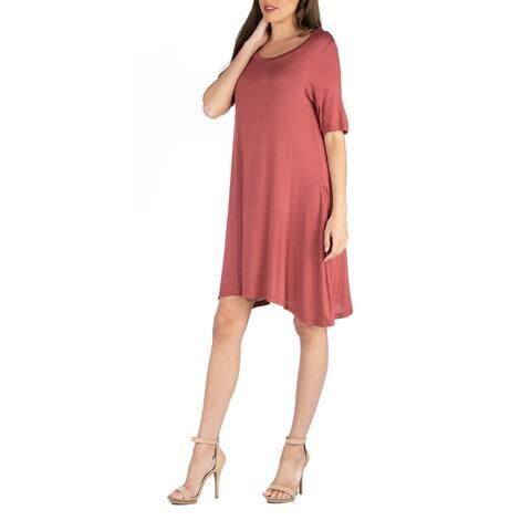 24seven Comfort Apparel Soft Flare T Shirt Dress with Pocket Detail R0026149
