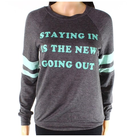 Moa Moa Gray Women XS Staying In Is The New-Goin OutCrewneck Sweater