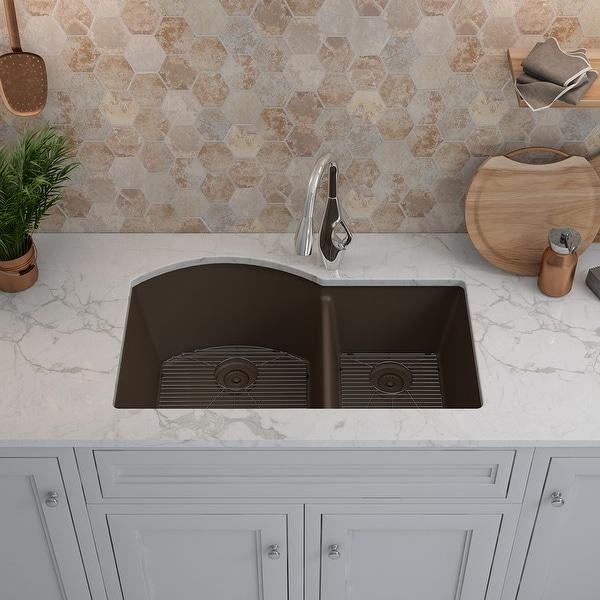 Lexicon Platinum Offset Double Bowl Quartz Composite Kitchen Sink. Opens flyout.