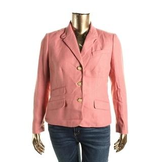 Lauren Ralph Lauren Womens Linen Blend Herringbone Three-Button Blazer