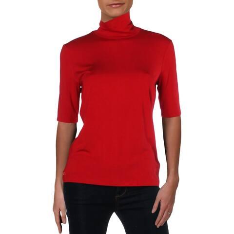 Lauren Ralph Lauren Womens Pullover Top Mock Neck Knit
