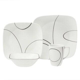 Corelle 1069983 Square Simple Lines Dinnerware Set, 16-Piece