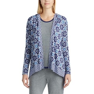 Layla Womens Mixed-Print Hooded Cardigan Pajama Top Medium M Navy Blue