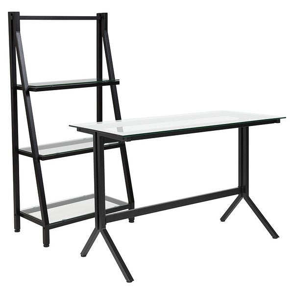Offex Highland Collection Glass Computer Desk And Bookshelf With Black Metal Frame