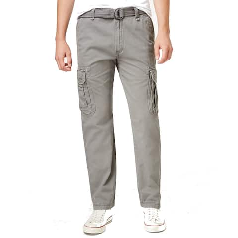 Unionbay Mens Pants Goose Gray Size 30x30 Cargo Belted Off-Seam Pockets