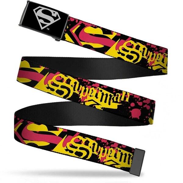 Superman Reverse Brushed Silver Cam Superman Old English W Paint Web Belt