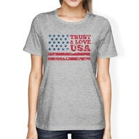 Trust & Love USA American Flag Shirt Womens Grey Round Neck Tshirt