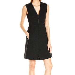 Theory NEW Black Womens Size 8 V-Neck Full Zip Sheath Dress Wool