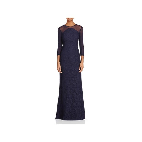 Adrianna Papell Womens Evening Dress Lace Illusion