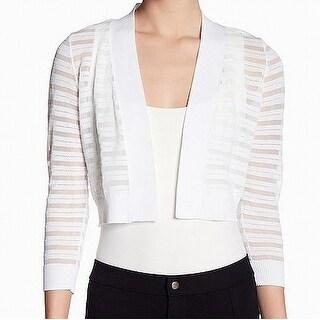 Calvin Klein NEW White Shadow Mesh Stripe XL Knit Bolero Shrug Jacket
