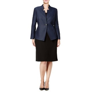 Tahari ASL Plus Size Tweed One-Button Skirt Suit - 18W