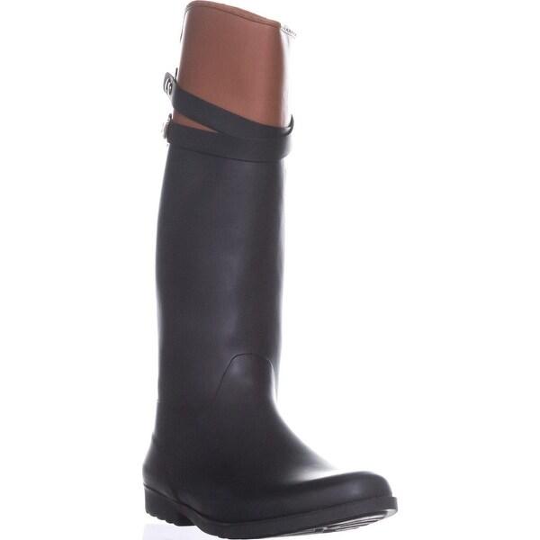 Tommy Hilfiger Coree Tall Two-Tone Rain Boots, Black Multi - 11 us