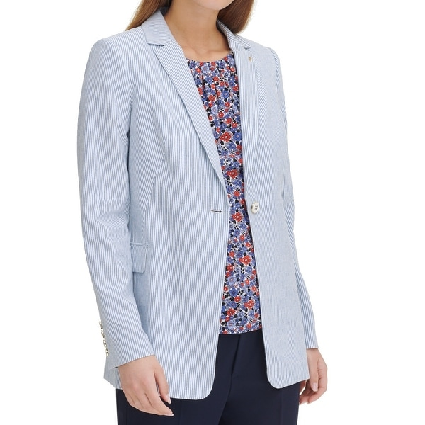Tommy Hilfiger Womens Blazer Blue 12 Striped Notched-Lapel One-Button. Opens flyout.