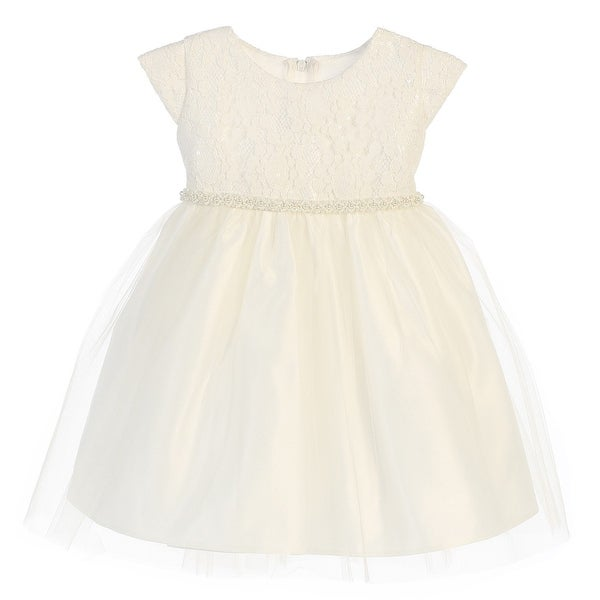 Baby Girls Off White Sequin Lace Detailed Tulle Easter Dress 9-24M