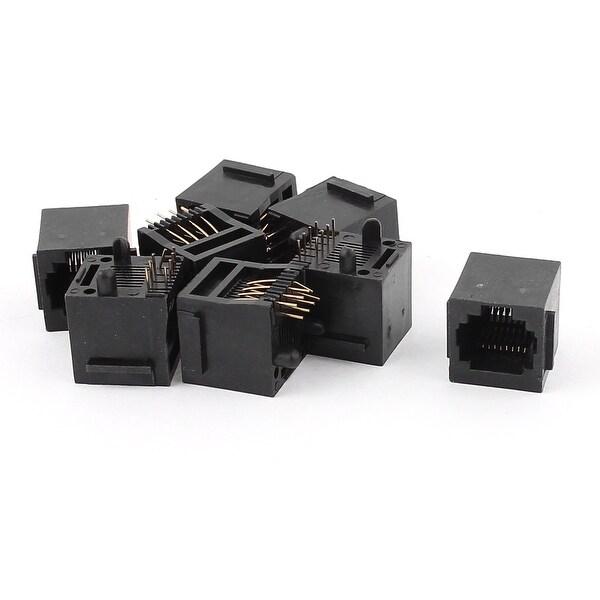 Shop 8Pcs Black RJ45 8P8C Jack Modules PCB Mount Network Internet ...