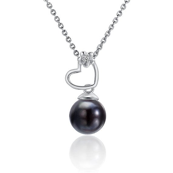"""Heart Black Pearl Necklace Sterling Silver Pendant 18"""" Chain"""