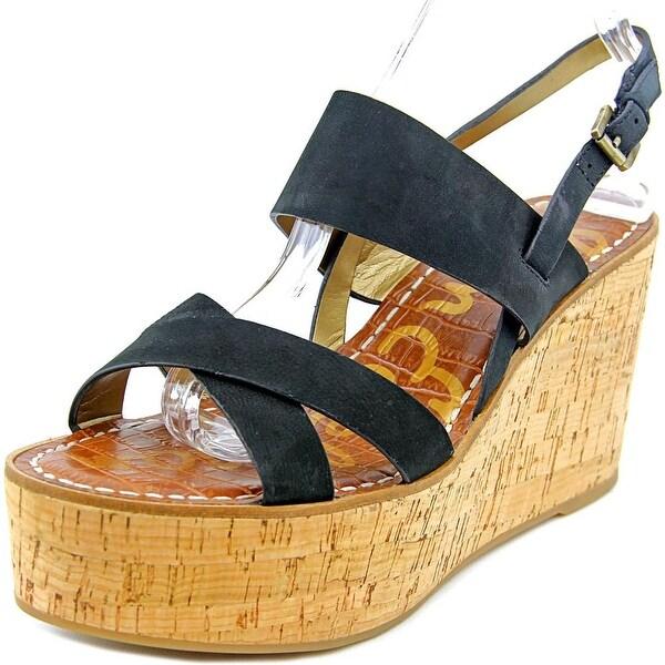c42c646846a Shop Sam Edelman Destiny Women Open Toe Leather Black Wedge Sandal ...
