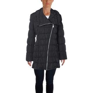 Calvin Klein Womens Asymmetrical Outerwear Puffer Coat - L
