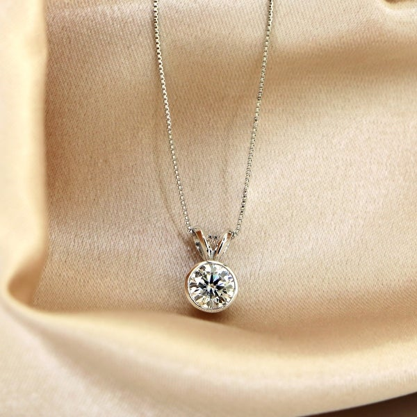 Auriya 14k Gold 1/2ct TW Round Bezel Set Moissanite Necklace Solitaire - 5 mm - 5 mm. Opens flyout.