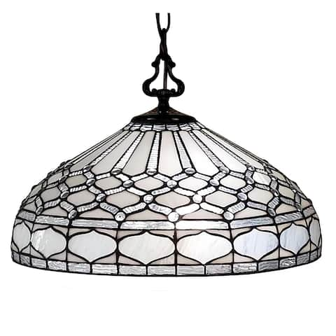 """Tiffany Style Hanging Pendant Lamp 18"""" Wide Stained Glass White Game Living Dining Room Gift AM221HL18B Amora Lighting"""