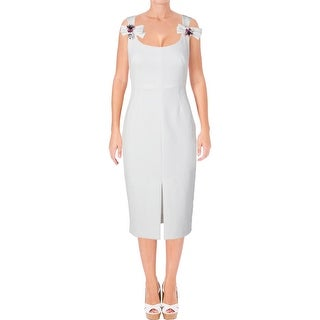 Betsy & Adam Womens Petites Cocktail Dress Crepe Embellished