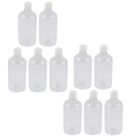 10Pcs 500ml Clear Plastic Seal Reagent Bottle Chemical Graduation Sample Bottle
