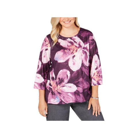 Alfred Dunner Womens Plus Pullover Top Floral Embellished - 3X
