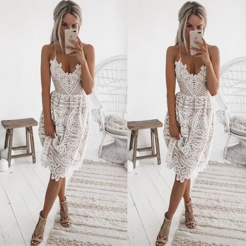 2-Color Dress Sling Lace Halter Dress Female