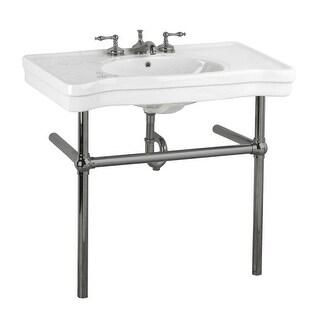 White Bathroom Console Sink China Belle Epoque Black Nickel Legs
