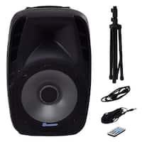 Costway Portable 15'' 1500W 2-way Powered Speaker Bluetooth Music w Illuminating Light - black