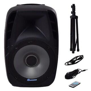 Costway Portable 15'' 1500W 2-way Powered Speaker Bluetooth Music w Illuminating Light