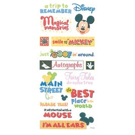 Disney Mickey Stickers & Borders-Themepark Phrase