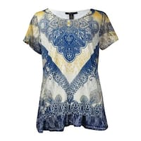 Style & Co Women's Printed Embellished Handkerchief Hem Blouse - nouveau way