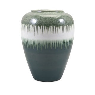 IMAX Home 13711  Persimmon Oversized Ceramic Vase by Trisha Yearwood - Green