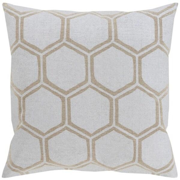 "18"" Dove Gray and Camel Brown Hexagon Hand Woven Decorative Throw Pillow"