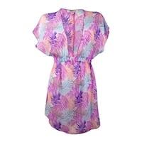 Miken Women's Fluttered Palm Print Chiffon Swim Cover - white pink lilac