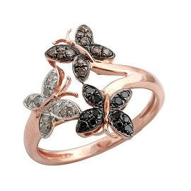 0.26 Carat Multi Color Diamond Designer Butterfly Ring