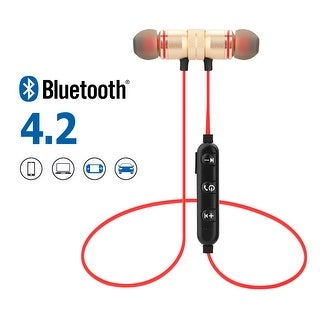 Metal Magnetic Wireless Bluetooth Earphone Sports Headset Stereo Bass Headphone, color Golden