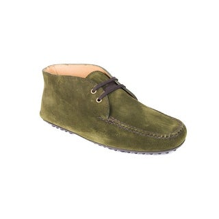Prada Car Shoe Womens Green Suede Lace Up Moccasins