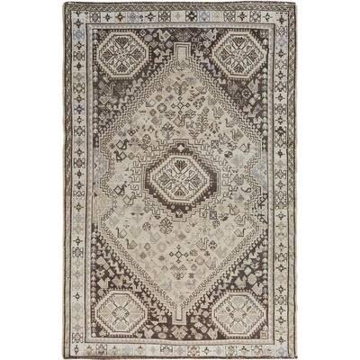 "Beige Worn Down Vintage Persian Shiraz Pure Wool Handmade Rug(5'2""x8') - 5'2"" x 8'0"""