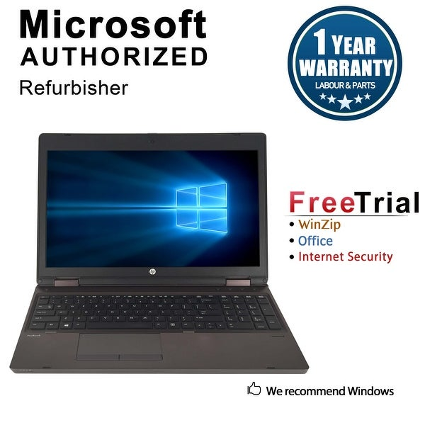 "Refurbished HP ProBook 6570B 15.6"" Laptop Intel Core i5-3210 2.5G 4G DDR3 320G DVDRW Win 10 Pro 1 Year Warranty - Black"